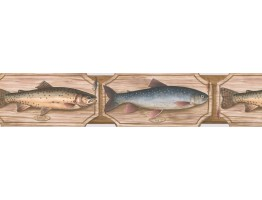 4 7/8 in x 15 ft Prepasted Wallpaper Borders - Fish Wall Paper Border 25005 SD DB
