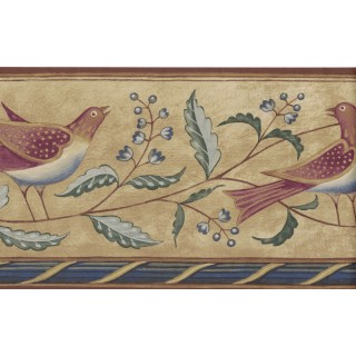 6 7/8 in x 15 ft Prepasted Wallpaper Borders - Birds Wall Paper Border 250B69211