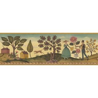 6 7/8 in x 15 ft Prepasted Wallpaper Borders - Diane Ulmer Perdersen Wall Paper Border 250B69233