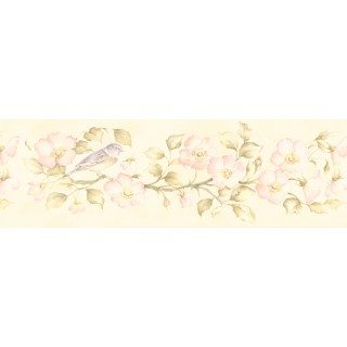 6 7/8 in x 15 ft Prepasted Wallpaper Borders - Floral Wall Paper Border 253B59162