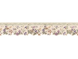 3 3/4 in x 15 ft Prepasted Wallpaper Borders - Floral Wall Paper Border 3575