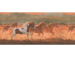 Prepasted Wallpaper Borders - Horses Wall Paper Border 2634 IN