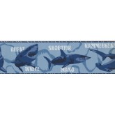 Prepasted Wallpaper Borders - Sharks Wall Paper Border 2718 BT