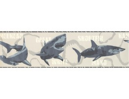 Prepasted Wallpaper Borders - Sharks Wall Paper Border 2719 BT