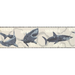 7 in x 15 ft Prepasted Wallpaper Borders - Sharks Wall Paper Border 2719 BT