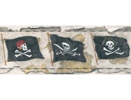 Prepasted Wallpaper Borders - Danger Flag Wall Paper Border 2810 BT