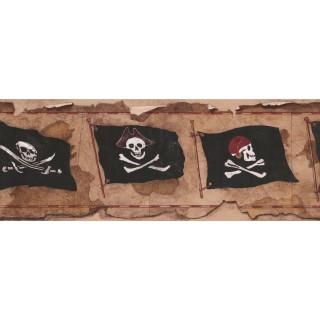 9 in x 15 ft Prepasted Wallpaper Borders - Danger Flag Wall Paper Border 2812 BT