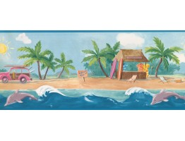 10 1/4 in x 15 ft Prepasted Wallpaper Borders - Nautical Wall Paper Border 2910 KL