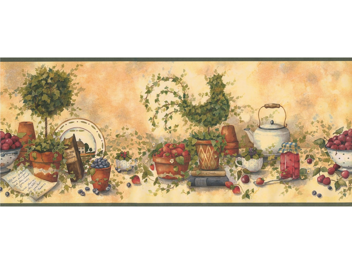 Prepasted Wallpaper Borders - Kitchen Wall Paper Border 29158