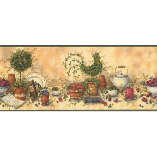 10 1/2 in x 15 ft Prepasted Wallpaper Borders - Kitchen Wall Paper Border 29158