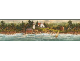 6 1/2 in x 15 ft Prepasted Wallpaper Borders - Light House Wall Paper Border 29171