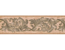 Prepasted Wallpaper Borders - Damask Wall Paper Border 29423