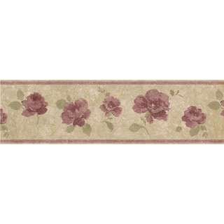 7 in x 15 ft Prepasted Wallpaper Borders - Floral Wall Paper Border 29424