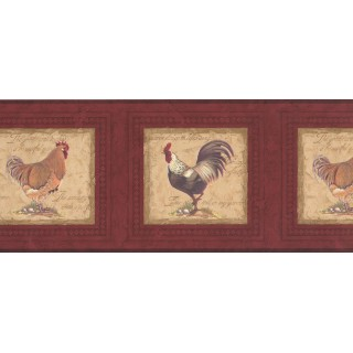 10 1/4 in x 15 ft Prepasted Wallpaper Borders - Roosters Wall Paper Border 30706530