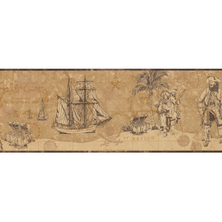 9 in x 15 ft Prepasted Wallpaper Borders - Nautical Wall Paper Border 3103 ZB
