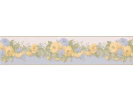 5 1/4 in x 15 ft Prepasted Wallpaper Borders - Floral Wall Paper Border 31616040