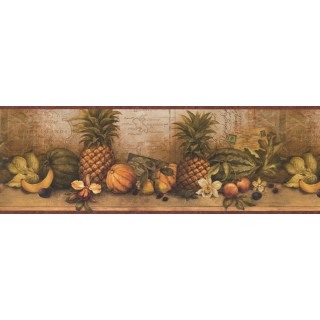 8 1/2 in x 15 ft Prepasted Wallpaper Borders - Fruits Wall Paper Border 32142 CW