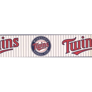 6 in x 15 ft Prepasted Wallpaper Borders - Twins Baseball Sports Wall Paper Border 3376 ZB