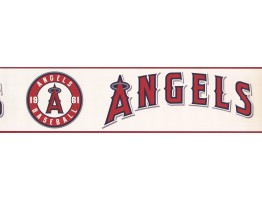 Prepasted Wallpaper Borders - Angels Baseball Sports Wall Paper Border 3382 ZB