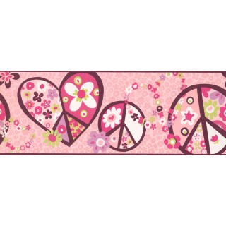 9 in x 15 ft Prepasted Wallpaper Borders - Peace Symbol Wall Paper Border 3917 PW