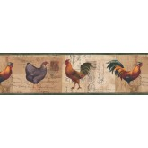 Roosters Roosters Wallpaper Border 4044 HRB York Wallcoverings