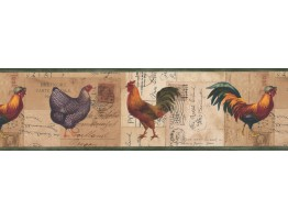 Prepasted Wallpaper Borders - Roosters Wall Paper Border 4044 HRB