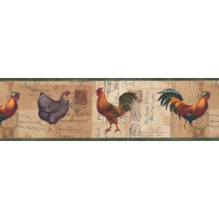 7 in x 15 ft Prepasted Wallpaper Borders - Roosters Wall Paper Border 4044 HRB