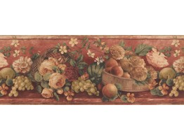9 in x 15 ft Prepasted Wallpaper Borders - Fruits Wall Paper Border 41776020