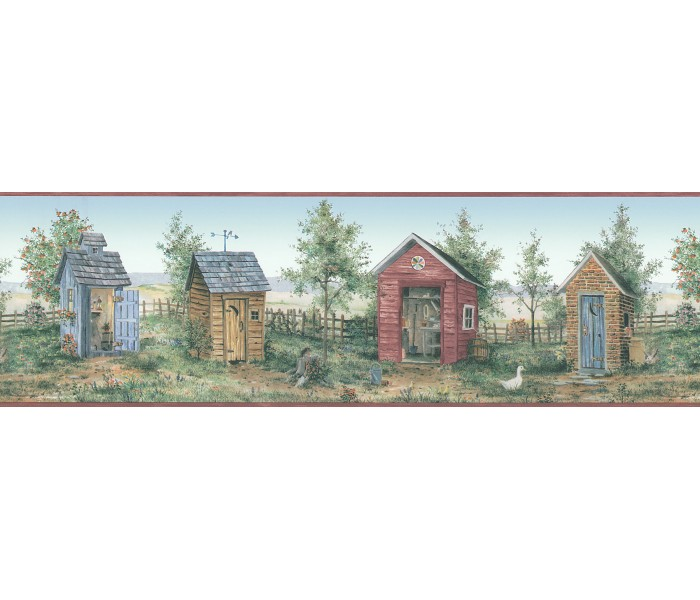 Bird Houses Wallpaper Borders: Birds House Wallpaper Border FDB05836