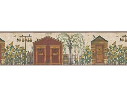 Prepasted Wallpaper Borders - Birds House Wall Paper Border HA61063B