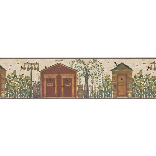 6 7/8 in x 15 ft Prepasted Wallpaper Borders - Birds House Wall Paper Border HA61063B