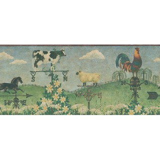 9 in x 15 ft Prepasted Wallpaper Borders - Country Wall Paper Border HA61082B