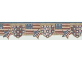 6 1/4 in x 15 ft Prepasted Wallpaper Borders - Flag Wall Paper Border 7064-719B