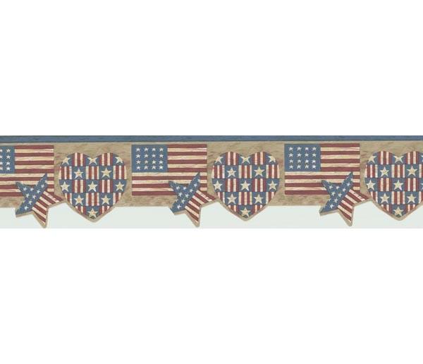 Prepasted Wallpaper Borders - Flag Wall Paper Border 7064-719B