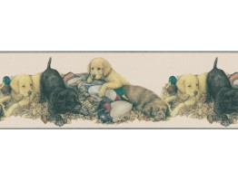 Prepasted Wallpaper Borders - Dogs Wall Paper Border DU2081B