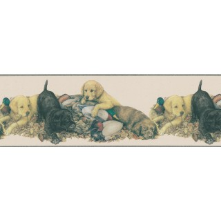 9 in x 15 ft Prepasted Wallpaper Borders - Dogs Wall Paper Border DU2081B