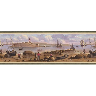 8.25 in x 15 ft Prepasted Wallpaper Borders - Nautical Wall Paper Border 51513