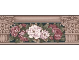 Prepasted Wallpaper Borders - Floral Wall Paper Border 520 AB