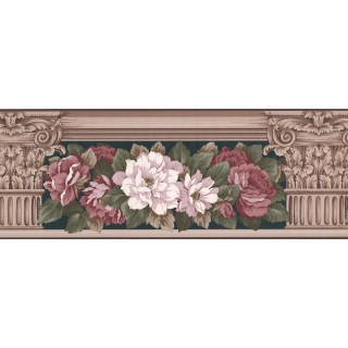 8 3/4 in x 15 ft Prepasted Wallpaper Borders - Floral Wall Paper Border 520 AB