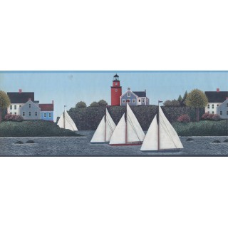 9 1/4 in x 15 ft Prepasted Wallpaper Borders - Nautical Wall Paper Border 5292 PV