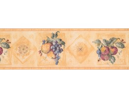 7 1/2 in x 15 ft Prepasted Wallpaper Borders - Fruits Wall Paper Border 5503233