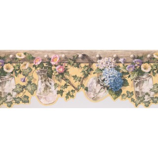8 3/7 in x 15 ft Prepasted Wallpaper Borders - Floral Wall Paper Border 5505681