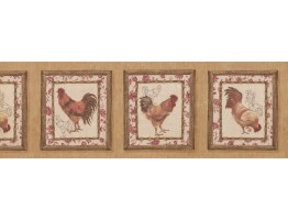 Prepasted Wallpaper Borders - Roosters Wall Paper Border 5506052