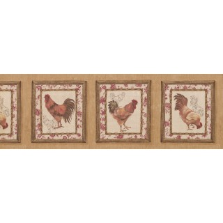 8 in x 15 ft Prepasted Wallpaper Borders - Roosters Wall Paper Border 5506052