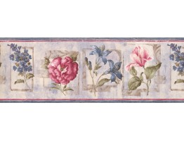 8.25 in x 15 ft Prepasted Wallpaper Borders - Floral Wall Paper Border 5506652