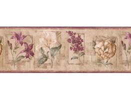 8.25 in x 15 ft Prepasted Wallpaper Borders - Floral Wall Paper Border 5506653