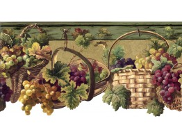 Prepasted Wallpaper Borders - Grape Fruits Wall Paper Border 5508273