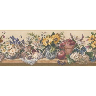 9 in x 15 ft Prepasted Wallpaper Borders - Flower and Fruits Wall Paper Border 5508332
