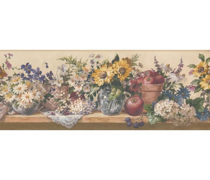 Garden Wallpaper Borders: Flower and Fruits Wallpaper Border 5508332