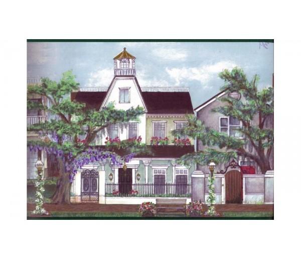 City Blue City Building Wallpaper Border 5802904